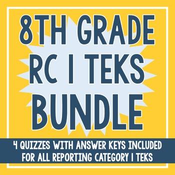8th Grade RC 1 Quiz BUNDLE! (All RC 1 TEKS)
