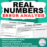 REAL NUMBERS Word Problems -  Error Analysis  (Find the Error)