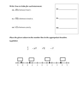 8th Grade Rational and Irrational Numbers Test