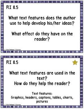 8th Grade Reading Comprehension Common Core Task Cards