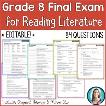 8th Grade Reading Final Exam | Reading Literature Final Assessment for Grade 8