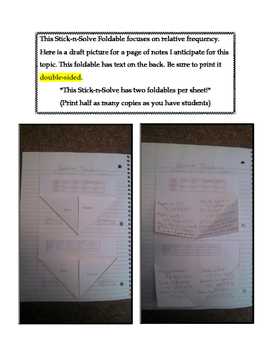 8th Grade Relative Frequency Lesson: FOLDABLE & Homework