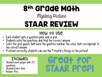 8th Grade STAAR Math Mystery Picture REVIEW Activity