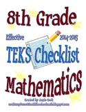 8th Grade STAAR Math TEKS Checklist (with new TEKS effecti