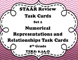 8th Grade Math STAAR Task Cards-Set 1-Numerical Representations and Relationship