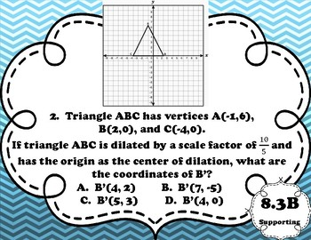 8th Grade STAAR Math Task Cards-Set 3-Geometry and Measurement