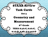 8th Grade Math STAAR Task Cards-Set 3-Geometry and Measurement