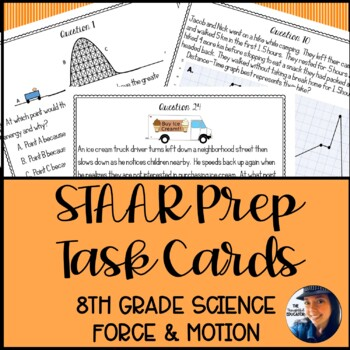 8th Grade Science STAAR Prep Task Cards: Force, Motion, & Energy Edition