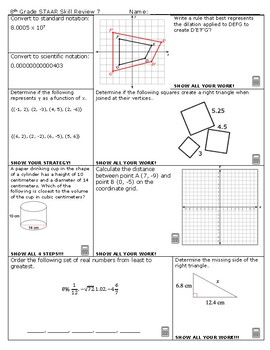 8th Grade Math STAAR Skill Review 7 and 8 2018-2019 Edition