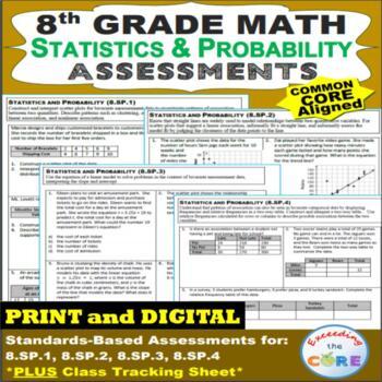 8th Grade STATISTICS & PROBABILITY Assessments (8.SP) Common Core