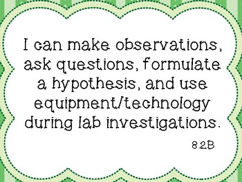 """8th Grade Science """"I Can"""" TEKS Posters ~ Color and B&W Versions"""