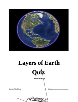 8th Grade Science Layers of Earth Quiz