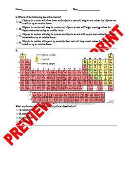 8th Grade Science Pre/Post Benchmark Assessment