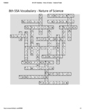 8th Grade Science SSA Vocabulary Crossword Puzzle - Nature of Science (Key)