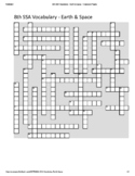 8th Grade Science SSA Vocabulary Crossword Puzzle - Earth & Space (Student)