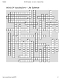 8th Grade Science SSA Vocabulary Crossword Puzzle - Life Science (Student)