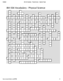 8th Grade Science SSA Vocabulary Crossword Puzzle - Physical Science (Student)