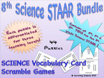 8th Grade Science STAAR Bundle: 46 Vocabulary Scrambles Card Games
