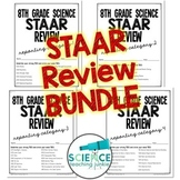 8th Grade Science STAAR Test Prep Review BUNDLE