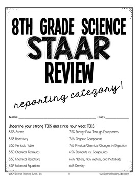 8th Grade Science STAAR Test Prep Review- Reporting ...