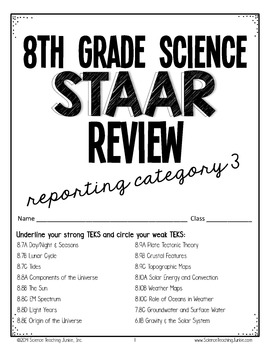 8th Grade Science STAAR Test Prep Review- Reporting Category 3 (Earth & Space)