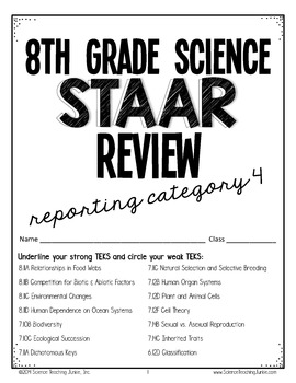 8th Grade Science STAAR Review- Reporting Category 4 (Orga