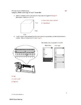 8th Grade Science STAAR Review Sheet, Key, Game - Chemistry