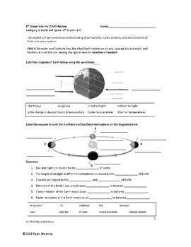 8th Grade Science STAAR Review Sheet, Key, Game - Earth and Space Science