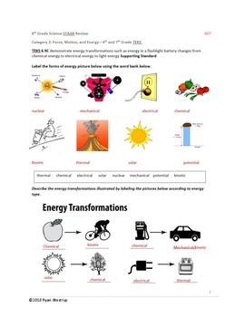 8th Grade Science STAAR Review Sheet, Key, Game - Physics