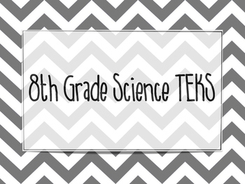 "8th Grade Science TEKS ""We will..."" Posters."