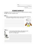 8th Grade Science Warmup