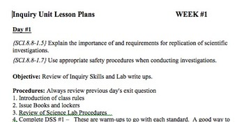 8th Grade Science Week 1 Lesson Plan: Inquiry
