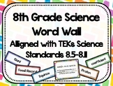 8th Grade Science Word Wall - Watercolor - TEKs Standards