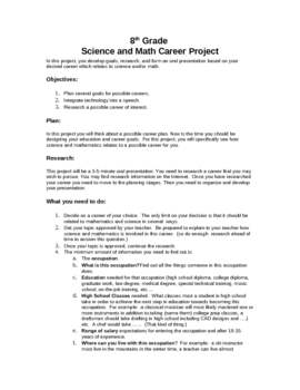 8th Grade Science and Math Career Project
