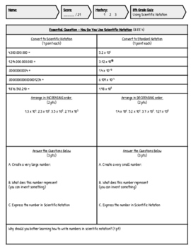 8th Grade Scientific Notation Assessment (8.EE.4)