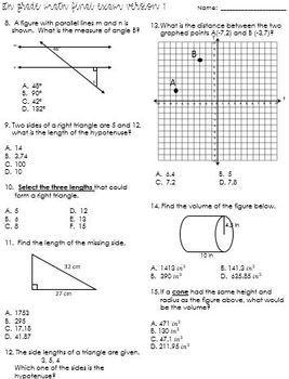 8th Grade Second Semester Final Exam