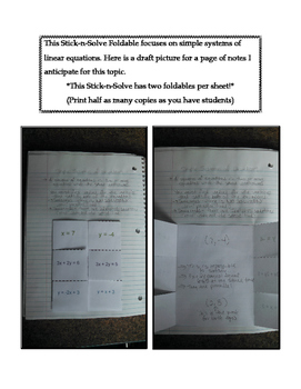 8th Grade Simple Systems of Equations Lesson: FOLDABLE & Homework