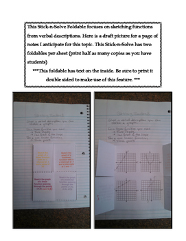 8th Grade Sketching Functions Lesson: FOLDABLE & Homework