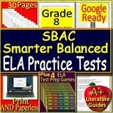 8th Grade Smarter Balanced Test Prep SBAC ELA SELF-GRADING TESTS & GAMES!
