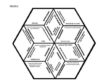 8th Grade Social Studies - Georgia - History Hex Puzzle - GPS Standards SSH1-2
