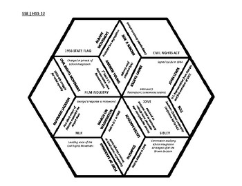 8th Grade Social Studies - Georgia - History Hex Puzzle - GPS Standards SSH11-12