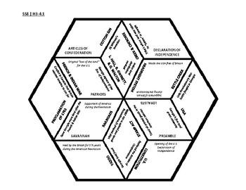 8th Grade Social Studies - Georgia - History Hex Puzzle - GPS Standards SSH3-4