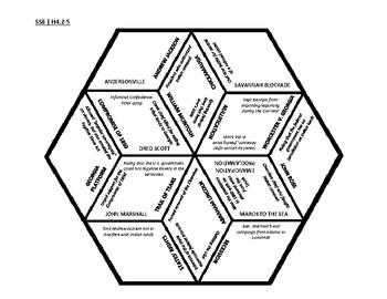 8th Grade Social Studies - Georgia - History Hex Puzzle - GPS Standards SSH4-5