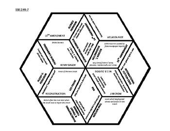 8th Grade Social Studies - Georgia - History Hex Puzzle - GPS Standards SSH6-7