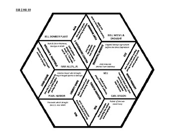 8th Grade Social Studies - Georgia - History Hex Puzzle - GPS Standards SSH8-10