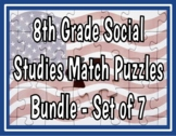 8th Grade Social Studies STAAR Match Puzzles - Bundle of 7 Sets