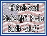 8th Grade Social Studies STAAR Match Puzzles - Bundle of 7 Sets