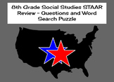 8th Grade Social Studies STAAR Review - Questions and Word Search Puzzle