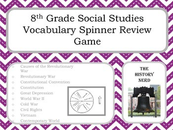 8th Grade Social Studies Vocabulary Spinner Review