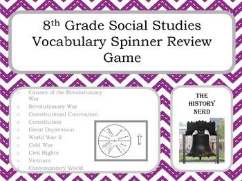 8th Grade Social Studies Vocabulary Spinner Review